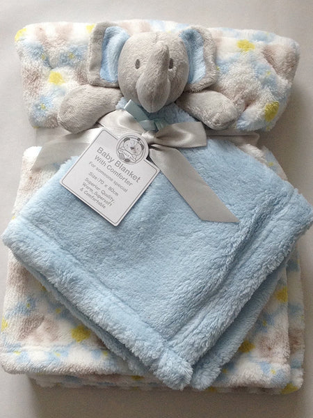 Beautiful Soft Blue Baby/Child Soft Toy/Cuddly Toy Elephant with Blanket 70 x 80 cm