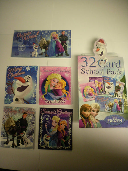 Disney Frozen 32 Mini Christmas Cards School Pack - hanrattycraftsgifts.co.uk