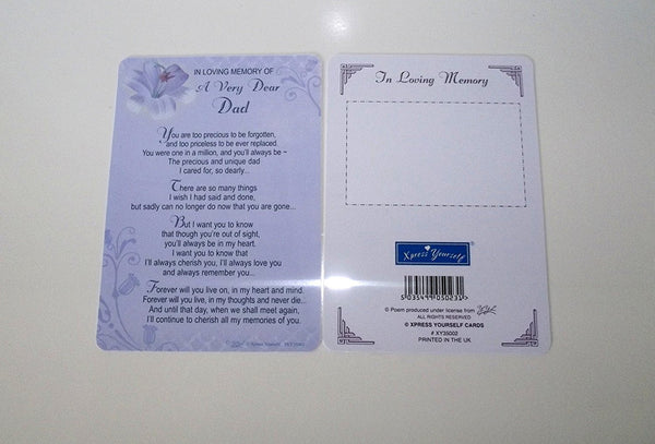 FATHER'S DAY - IN LOVING MEMORY OF A VERY DEAR DAD. FATHER'S DAY MEMORIAL CARD - hanrattycraftsgifts.co.uk