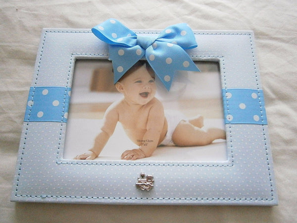 "Blue and White Polka Dot and Ribbon Baby Boy 5""x7"" Photo Frame - hanrattycraftsgifts.co.uk"