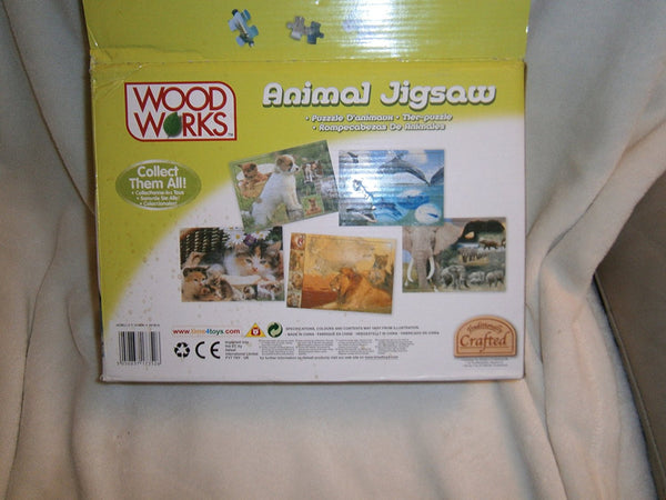 36 PC WOODEN ANIMAL JIGSAW PUZZLE IN FRAME. PUPPIES - hanrattycraftsgifts.co.uk