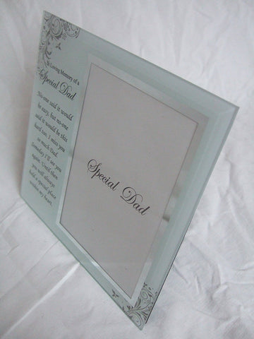 """In Loving Memory, Special Dad"" Memorial Glass 6""x4"" (15x10cms) Photo Frame with Sentimental Verse"