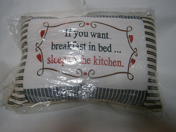 sentiments cushion if you want breakfast in bed sleep in the kitchen - hanrattycraftsgifts.co.uk