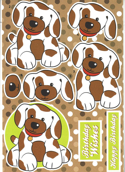 Decoupage Farmyard Puppy- Cut and Create with Backing Sheet to match - hanrattycraftsgifts.co.uk