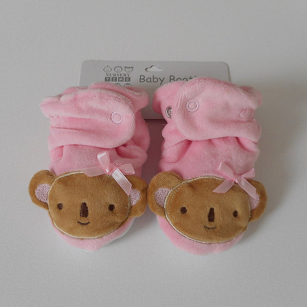 Pair of Pink Baby Girl Newborn Velour Bear Booties 6 - 12 Months - hanrattycraftsgifts.co.uk