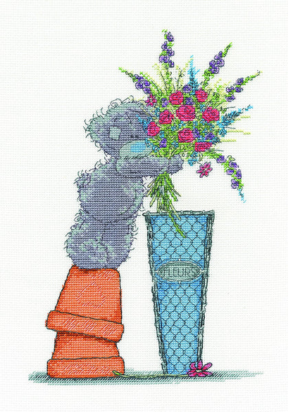 "DMC ""Me to You Tatty Teddy - Fresh Bouquet"" Cross Stitch Kit, Multi-Colour - hanrattycraftsgifts.co.uk"