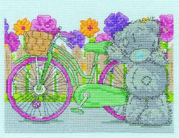 "DMC ""Me to You Tatty Teddy - Spring Cycle"" Cross Stitch Kit, Multi-Colour - hanrattycraftsgifts.co.uk"