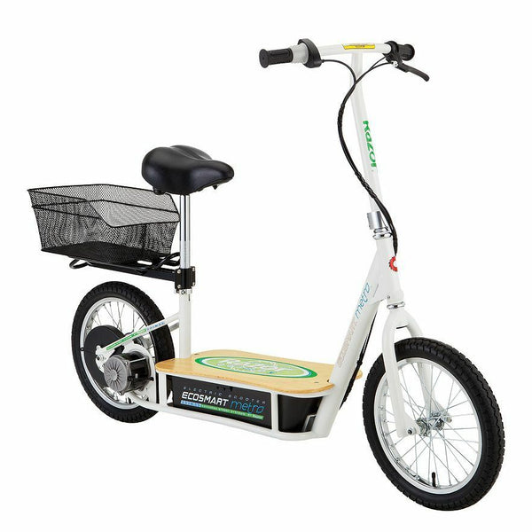 Razor EcoSmart Metro Electric Economical Scooter with Seat and Rack
