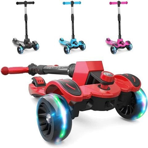 6KU Kids Kick Scooter Adjustable Height Lean to Steer Widened LED Wheels