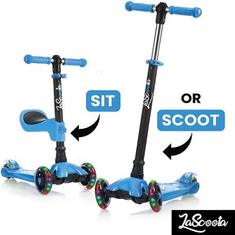Lascoota 2-in-1 Kick Scooter with Removable Seat Great for Kids & Toddlers Girls or Boys