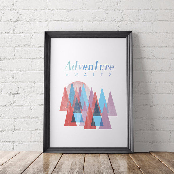 Adventure Awaits Mountains Art Printable - Little Gold Pixel