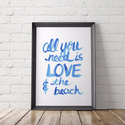 All You Need Is Love & the Beach Art Printable - Little Gold Pixel