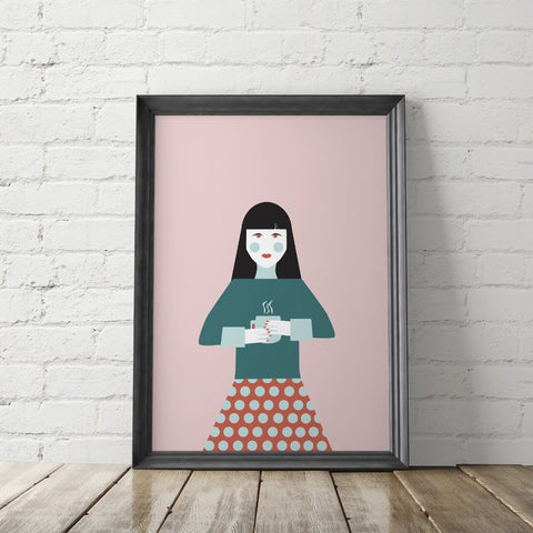 Coffee Woman Illustration Art Printable - Little Gold Pixel