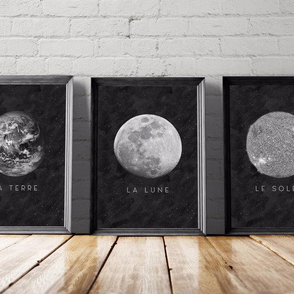Moon Art Printable Set - Little Gold Pixel