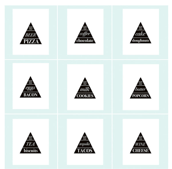 Cravings - ENTIRE SET - Food Triangle Art Printables - Little Gold Pixel - 1