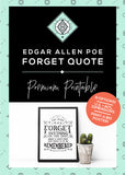 Edgar Allan Poe Literary Art Printable - Little Gold Pixel
