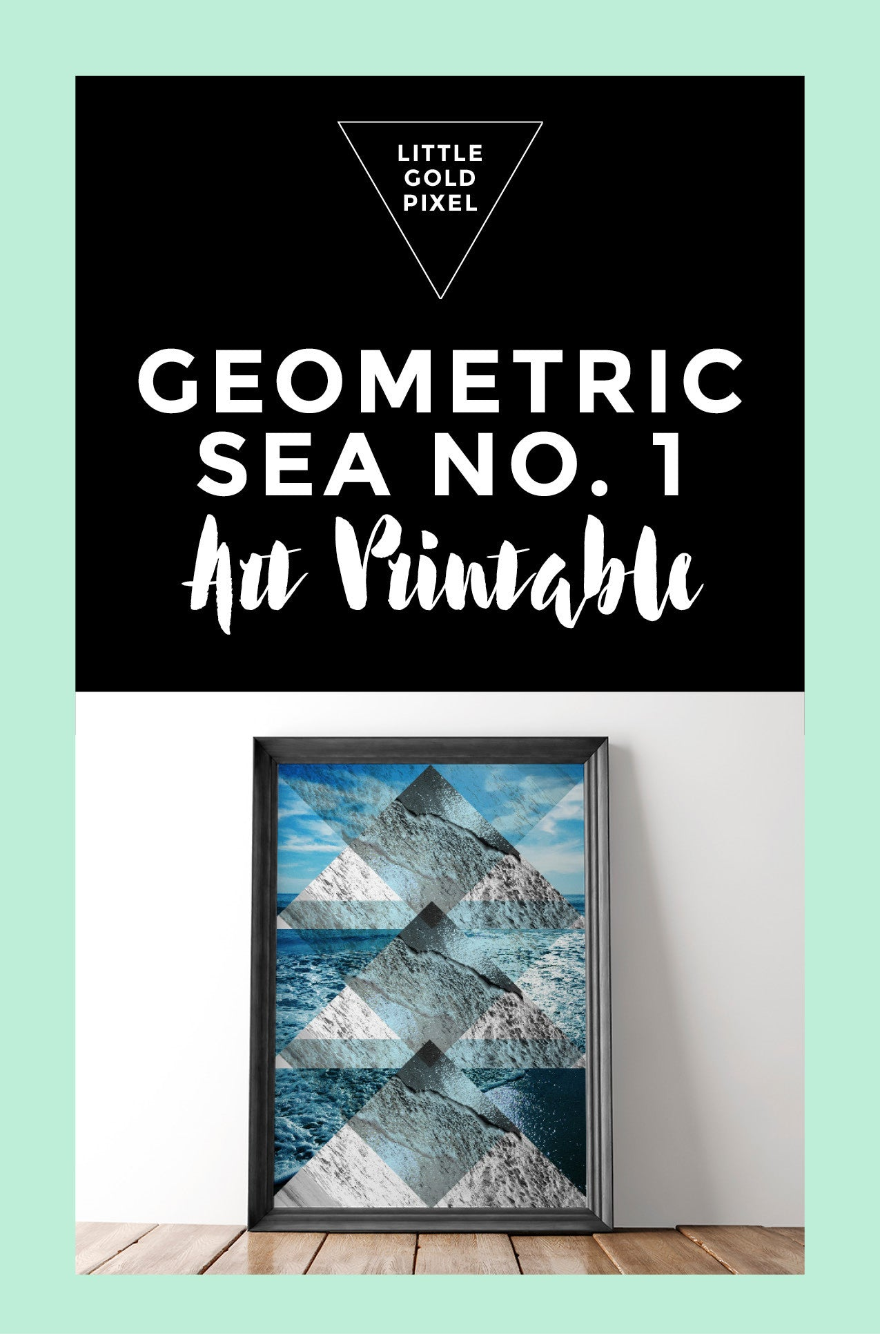 Geometric Sea Collage No. 1 Art Printable - Little Gold Pixel - 4