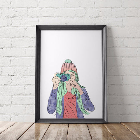 Girl with Camera Art Printable