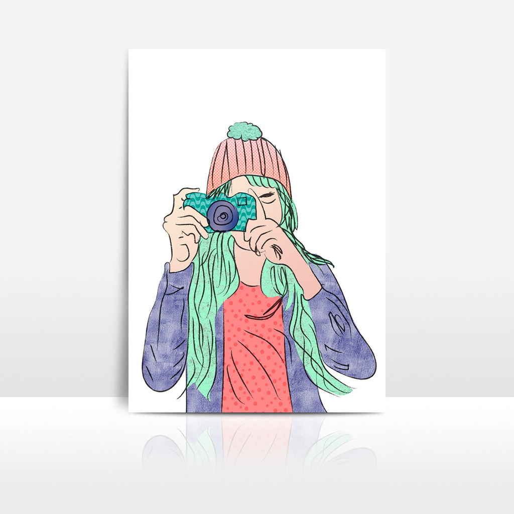 Girl with Camera Art Printable - Little Gold Pixel