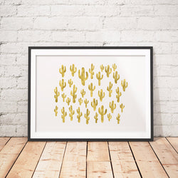 CACTUS GOLD art printable - Little Gold Pixel