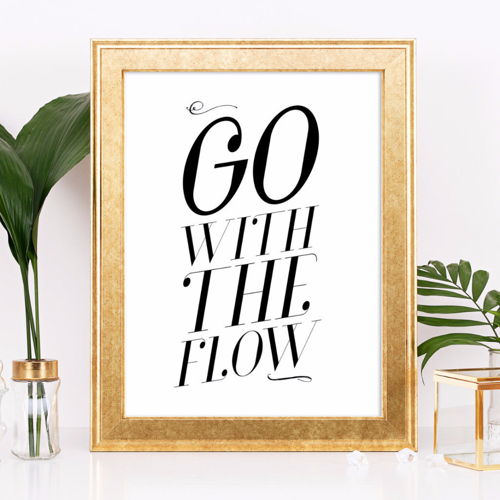 Go With the Flow Art Printable - Little Gold Pixel - 1