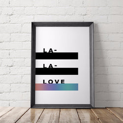 La La Love Art Printable - Little Gold Pixel