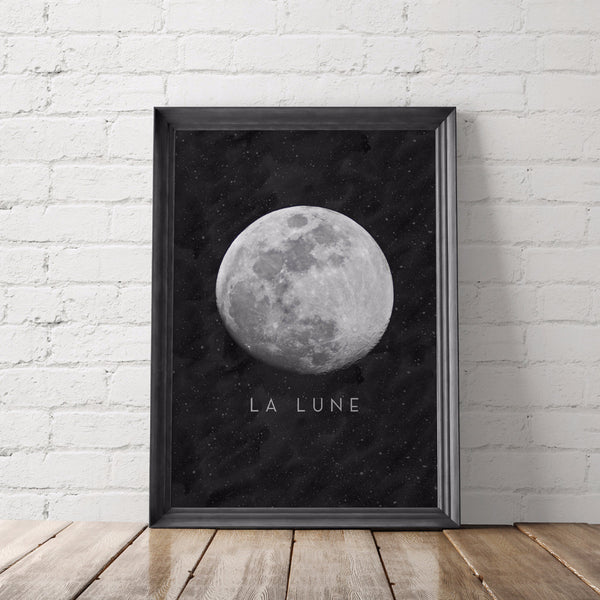La Lune Moon Art Printable - Little Gold Pixel