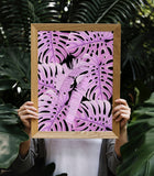 Tropical Purple Monstera Art Printable - Little Gold Pixel