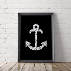 Marble Anchor Art Printable - Little Gold Pixel