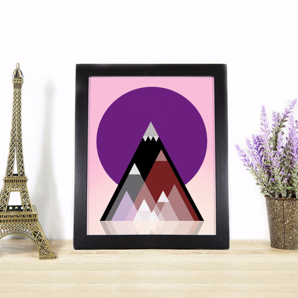 Geometric Mountains Art Printable - Little Gold Pixel - 1