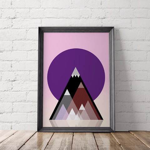 Geometric Mountains Art Printable - Little Gold Pixel