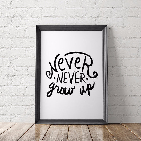 Never Never Grow Up Peter Pan Art Printable - Little Gold Pixel