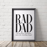 Rad Dad Gift Art Printable - Little Gold Pixel