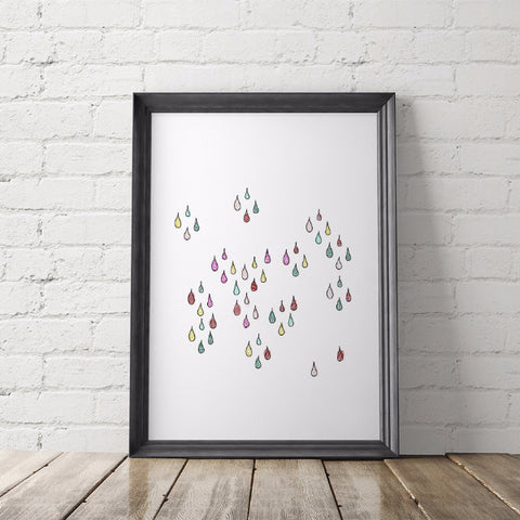 Rainbow Raindrops Art Printable - Little Gold Pixel