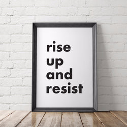 Rise Up and Resist Protest Art Printable - Little Gold Pixel