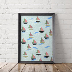 Sailboat Pattern Art Printable - Little Gold Pixel