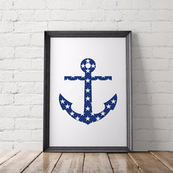 Nautical Anchor Art Printable - Little Gold Pixel