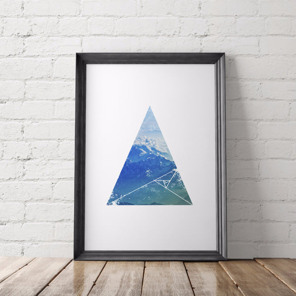 Nature Lover Geometric Printable Art, Mountains