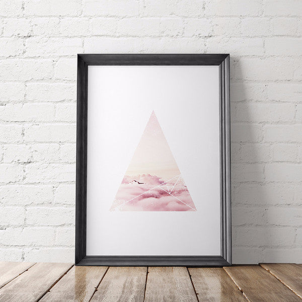 Nature Lover Geometric Printable Art, Pink Fluffy Clouds