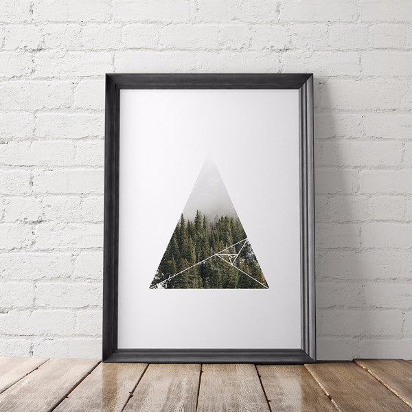 Nature Lover Geometric Printable Art, Woodland Trees