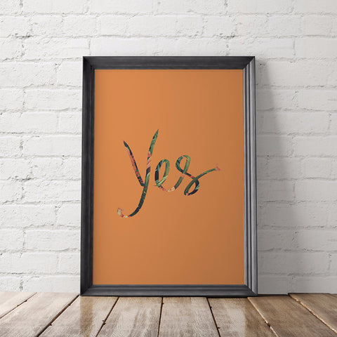 Tropical Orange Yes Art Printable - Little Gold Pixel