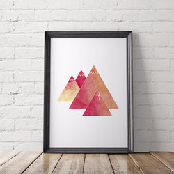 Watercolor Mountains Adventure Art Printable