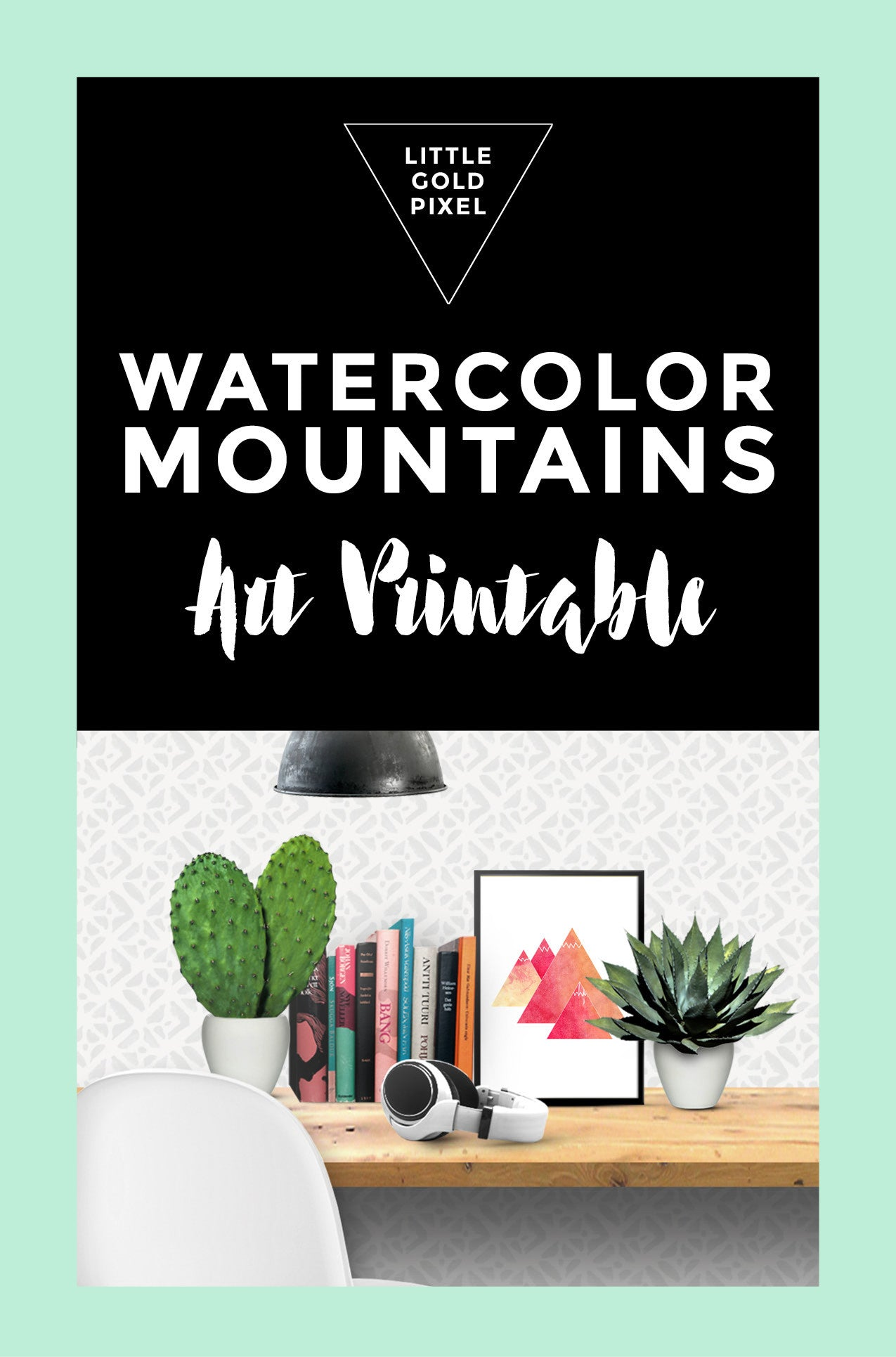 Watercolor Mountains Adventure Art Printable - Little Gold Pixel - 4