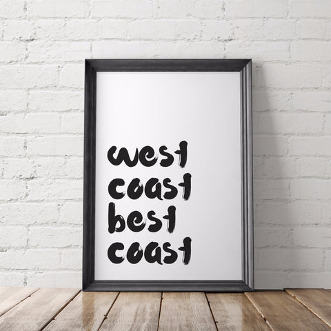 West Coast Best Coast Art Printable - Little Gold Pixel