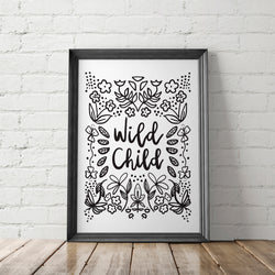 Wild Child Art Printable - Little Gold Pixel