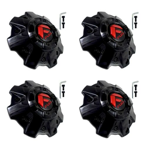 Fuel Off Road Center Caps 1001-81GBQ 5 & 6 Lug GLOSS Black with Red Logo (Set of 4)