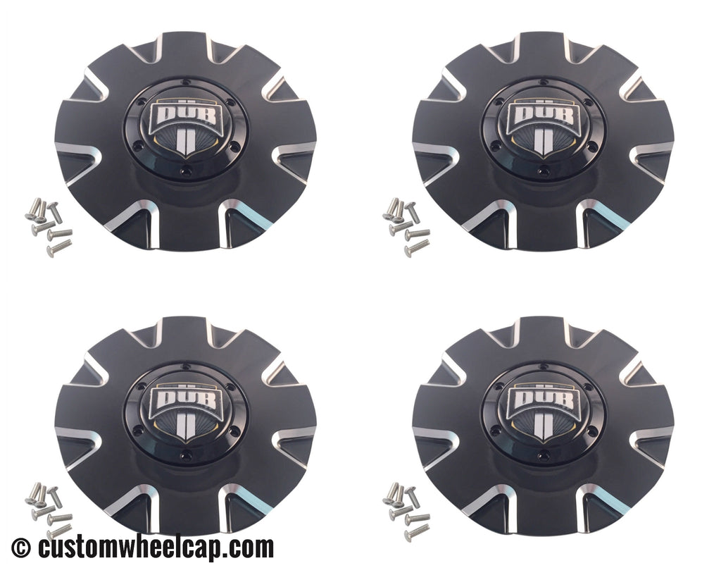DUB Push Wheel Center Caps Gloss Black and Machined (Set of 4)