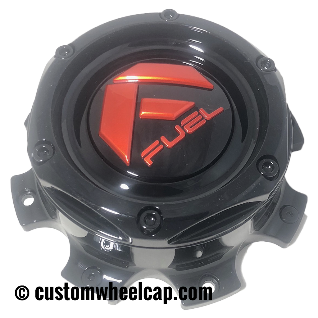 Fuel Off Road Center Cap 1004-08 8 Lug Gloss Black with Red Logo