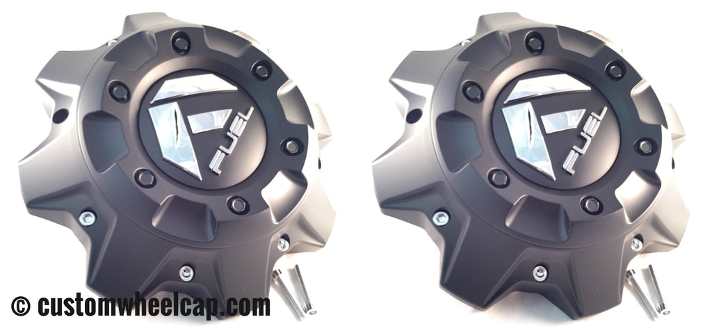 Fuel Off Road Center Caps 1002-40 + 1002-41 Flat Black with Chrome Rivets Rear Dually (Set of 2)