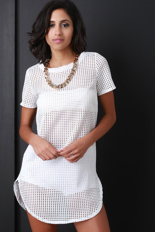 Perforated Chain Necklace Tunic Top